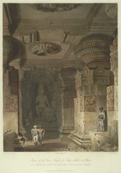 Interior of the Cave Temple of Indra Sabha at Ellora